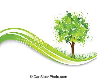 木, 抽象的, 緑の背景