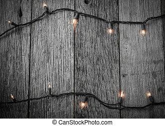 木, 無作法, ライト, 木, 背景, 白い クリスマス