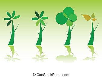 木, 緑, イラスト