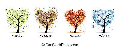 木, 美しい, -, 春, 夏, 4つの季節, あなたの, デザイン, 芸術, 秋, winter.