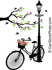 木, 花, ランプ, 自転車