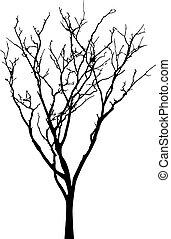 木, 裸, ベクトル, シルエット, 黒