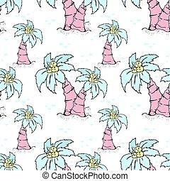 木, seamless, やし, 引かれる, ファッション, イラスト, elements., 夏, coconut., パターン, 浜, 主題, 背景, オブジェクト, 手