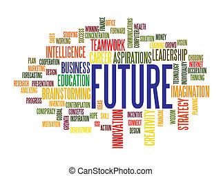 未来, 単語, ビジネス, 雲