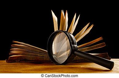 本, ガラス, 拡大する