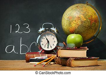 本, 古い, 学校