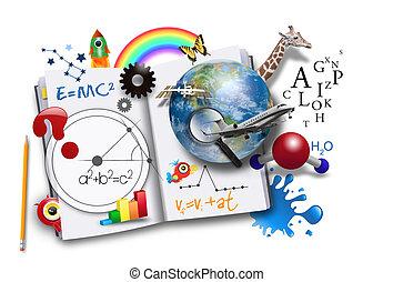 本, 科学, 開いた, 数学, 勉強