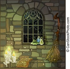 本, 蝋燭, 魔女, ガラス, 瓶。, ベクトル, 家, 石, 窓, イラスト, gothic