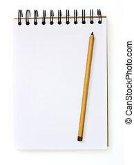 本, 隔離された, セピア, スケッチ, 鉛筆, 白