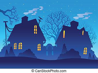 村, シルエット, 夜