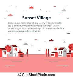 村, 小さい 町, 光景, 秋, ごく小さい, 住宅の, 季節, 美しい, 近所, 家, 横列