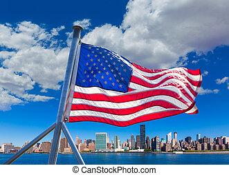 東, 日当たりが良い, スカイライン, ヨーク, 新しい, ニューヨークシティ, 川, マンハッタン