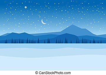 松, イラスト, 夜, 川, 隔離された, 森林地帯, ベクトル, 冬, 山, 雪, 平ら, 木, 漫画, ice., スタイル, 氷, frosen, 湖, hills., 風景