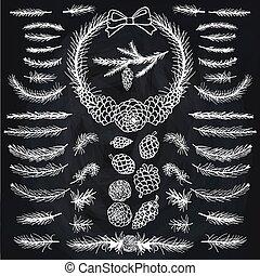 松, ブランチ, 黒板, brushes., silhouett., トウヒ