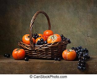 柿, 生活, バスケット, ブドウ, まだ