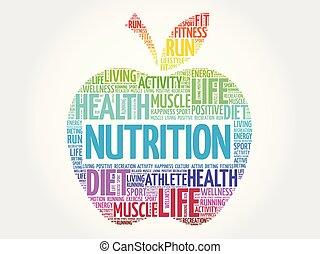 栄養, 雲, 単語, アップル