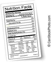栄養, vector., 脂肪, highlighted., label., 事実