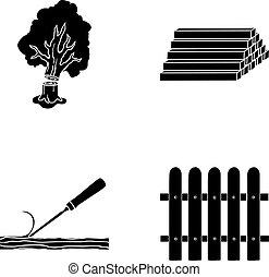 株, シンボル, 木, ベクトル, コレクション, 木材を伐採する, fence., のみ, 材木, 黒, スタイル, アイコン, セット, web., イラスト, 山, 製材