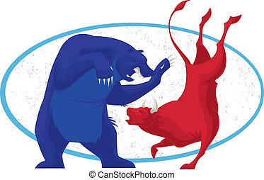 株, -, 市場, 熊, 雄牛