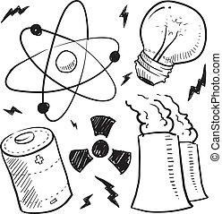 核, スケッチ, オブジェクト, 力