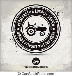 栽培された, &, 農場, locally, 切手, 新たに