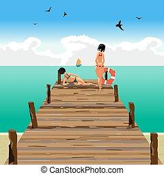桟橋, 平ら, 木製である, 距離。, 帆, 2, イラスト, 若い見ること, ベクトル, 浜, 漫画, 女性