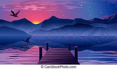 桟橋, 湖, 光景