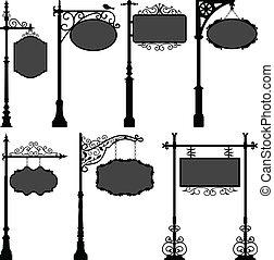 棒, 通り, signage, フレーム, 印