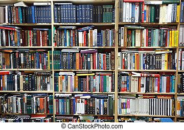 棚, 壁, books., 私用, library., 満たされた