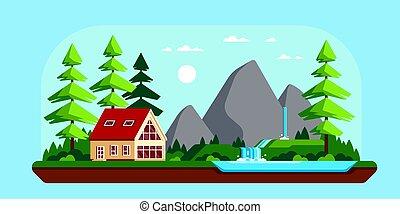 森林, 家族, illustration., 平ら, 家, デザイン, コテッジ