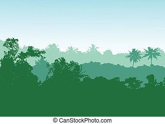 森林, 背景, トロピカル