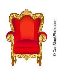 椅子, 古い, 赤, 金