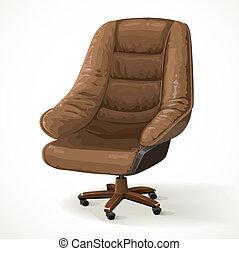 椅子, 隔離された, 白, 大きい, 革, オフィス, 背景