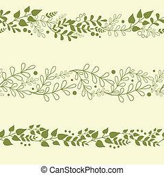 植物, セット, 背景, 3, seamless, パターン, 緑, 横