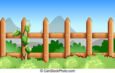 植物, 木製である, 緑, フェンス