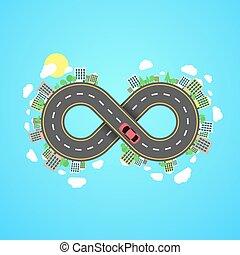 植物, settlements., 都市, 無限点, road., 運転, 自動車, 木, 旅行, によって, carriageway., 前方へ, eight., world., 漫画, 道, 無限