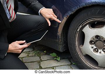 検査, 傷つけられる, 保険外交員, 自動車