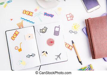 業績, 概念, 仕事, pushpin, アイコン, 毎日, 行動, 創造的, 計画, 場所, ゴール, 矢, ターゲット, 文房具, life., 組織者, 日, coffee.