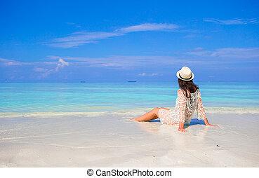 楽しみなさい, 夏, 女, 若い, 休暇, 白い浜, 砂, 幸せ