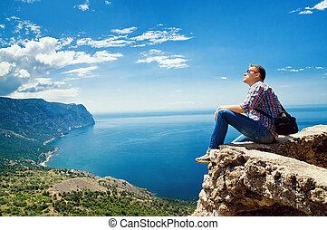 楽しみなさい, 山, 観光客, 上, 海, 座る, 光景