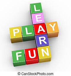 楽しみ, クロスワードパズル, プレーしなさい, 学びなさい