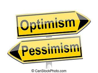 楽天主義, 方向, -, 悲観主義, 矢, 黄色, イラスト, 言葉