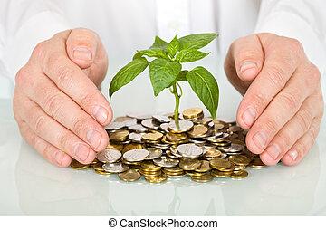 概念, お金, よい, 作成, 保護, 投資