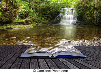 概念, イメージ, 流れること, 魔法, 滝, 創造的, 本, 森林, 到来, ページ, から