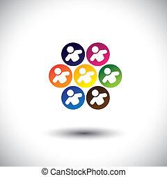 概念, オフィス, 学校, 抽象的, 子供, アイコン, circle., また, カラフルである, 従業員, グラフィック, 表す, 同僚, 子供, スタッフ, これ, &, 遊び, ∥など∥, ベクトル, ゲーム, チーム, ∥あるいは∥
