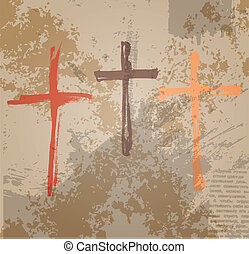 概念, グランジ, 聖書, 3, バックグラウンド。, 十字, はりつけ