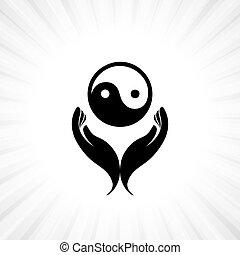 概念, シンボル, yin, -, 手, 人, yang, 信心深い, 祈ること, 崇拝, 仏教
