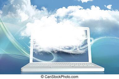 概念, スペース, ラップトップ, デジタル, 創造性, イラスト, ブランク, 雲, 3d