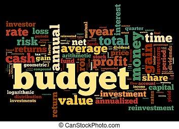 概念, タグ, 予算, 雲