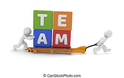 概念, チームワーク, 持ち上がること, カート